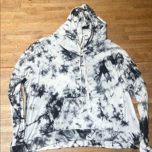 Black, grey and white tie die hoodie